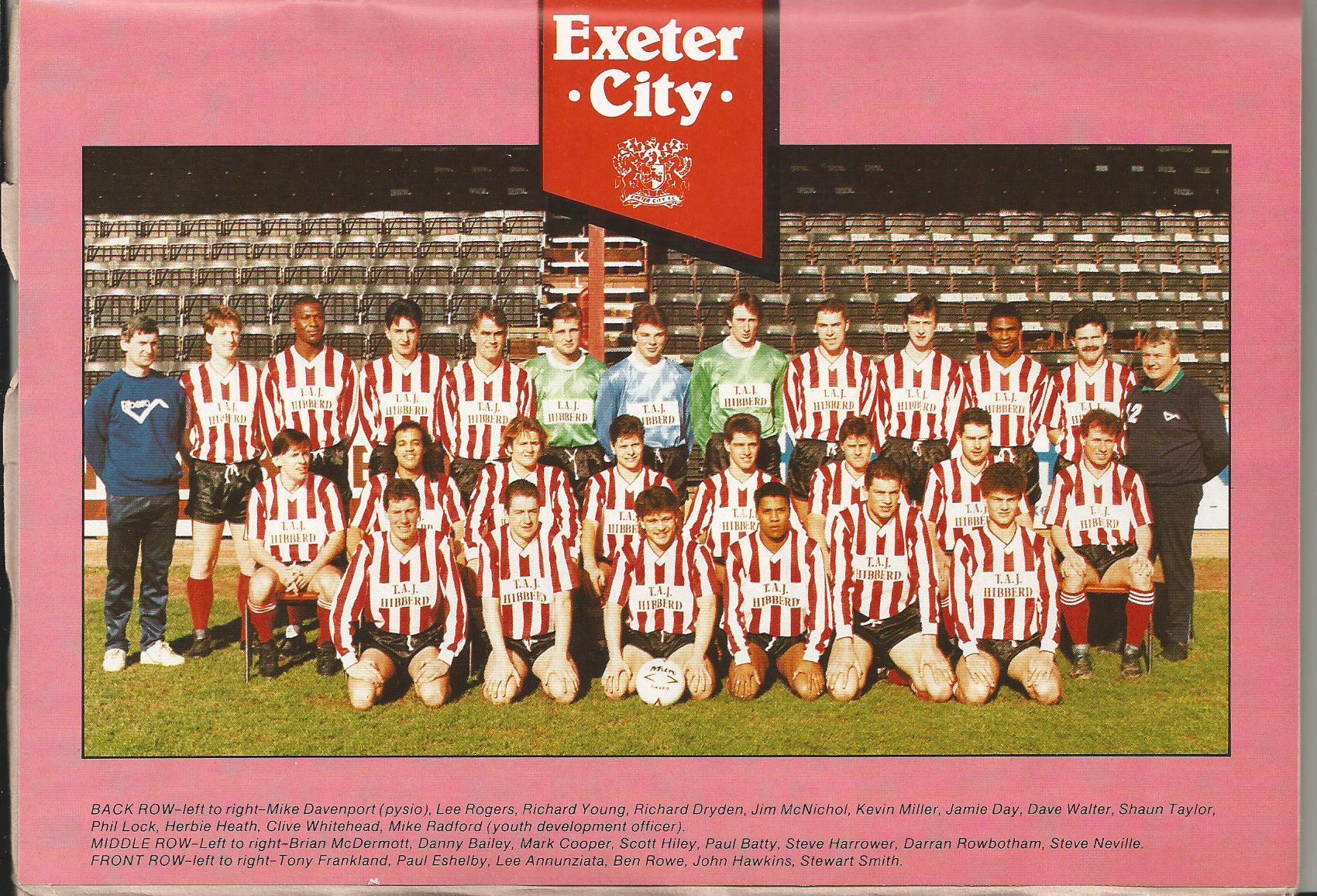 exeter city team 1989  90 season  u00b7 digital futures